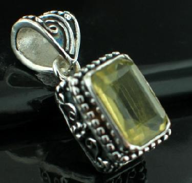 Sterling silver SP - Lemon Quartz (15ctw) Pendants_SilverPlated ID=psp486lt