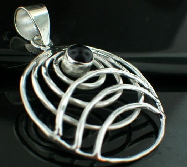 Sterling silver SP - Black Onyx Pendants_SilverPlated ID=psp78bx