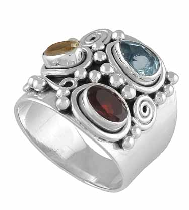 wholesale Chunky Sterling Silver Gemstone Ring (rg16mxf_s9)