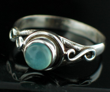Sterling silver Blue Chalchodeny (6mm) Ring ID=rg705bl
