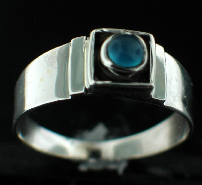 Sterling silver Blue Chalchodeny (8mm) Ring ID=rg708bl
