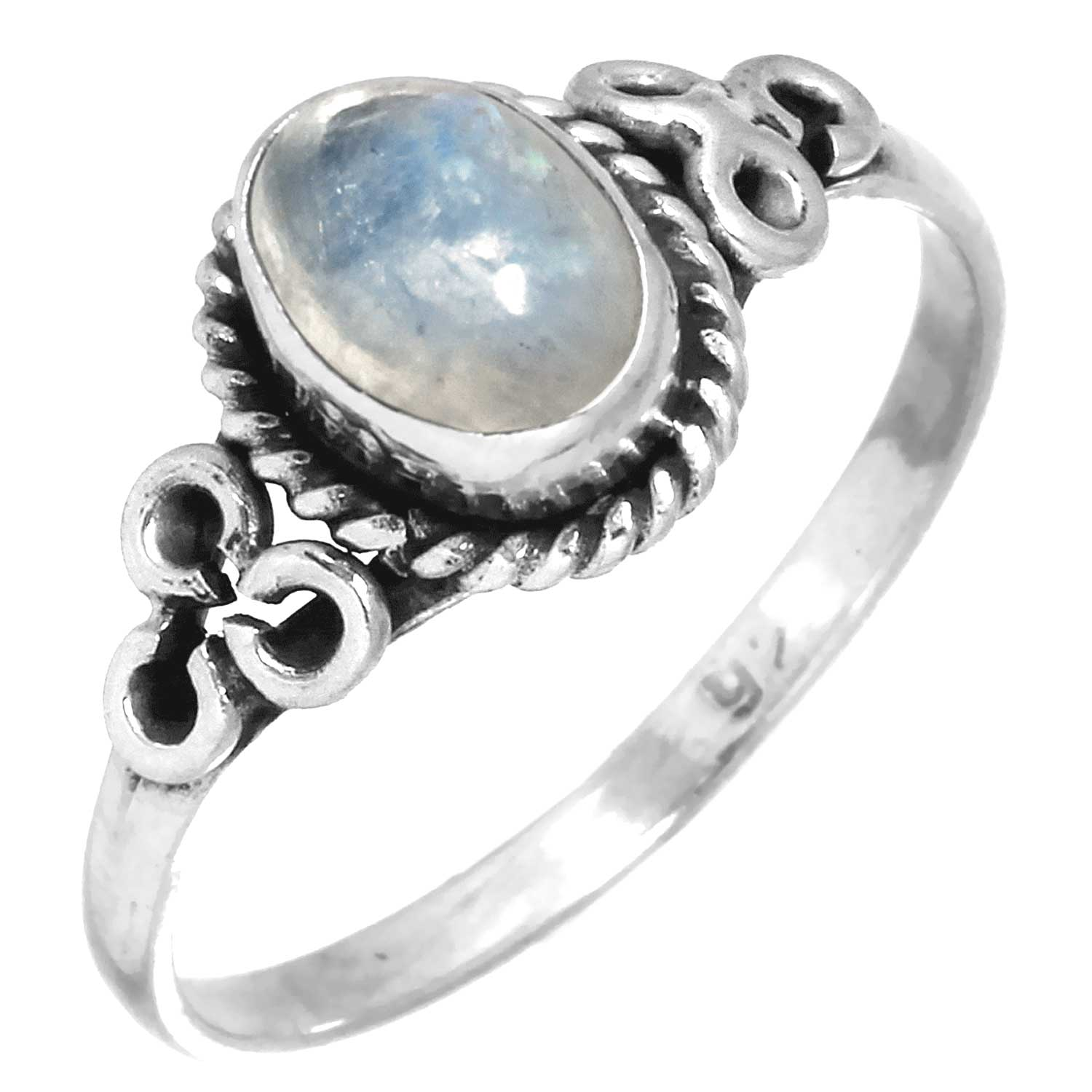 Sterling silver Rainbow Moonstone (6x8mm) ring ID=rg803rm