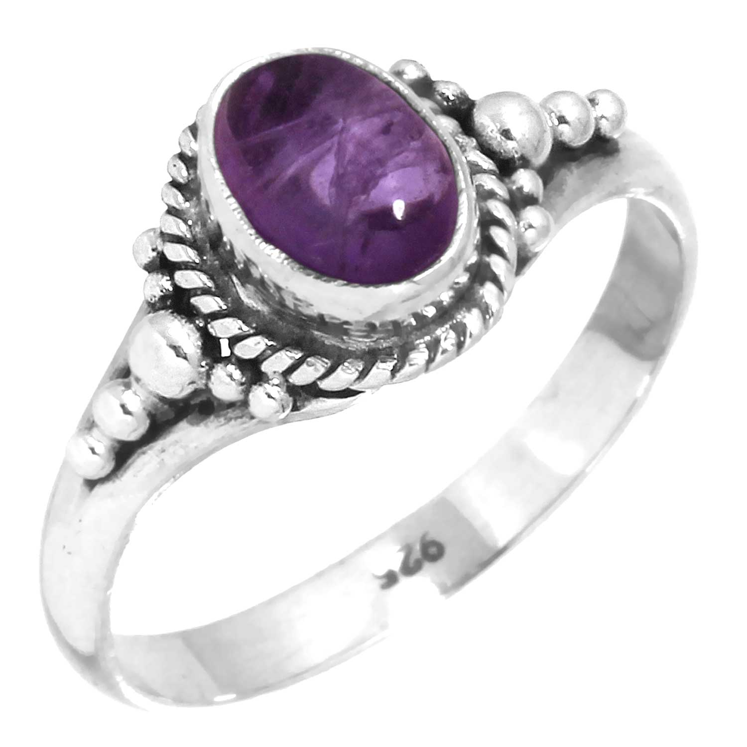 Sterling silver Amethyst (5x8mm) Ring ID=rg806ame