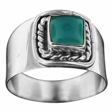 Sterling silver Blue Chalcodeny (7mm) ring ID=rn114bl