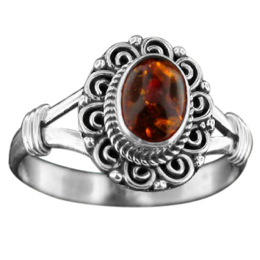 Sterling silver Amber (5x7mm) Ring ID=rn831amb