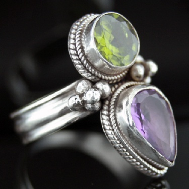 Large Sterling Silver And Gemstone Ring (rns608amef_prf_B_Custom)