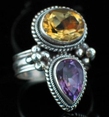Large Sterling Silver And Gemstone Ring (rns608tpf_amef_Custom)