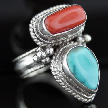 Large Sterling Silver And Gemstone Ring (rns608tr_cor_B_Custom)