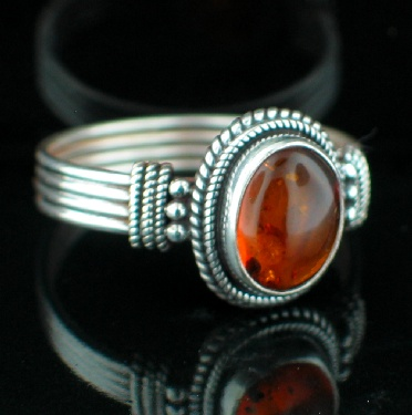 Large Sterling Silver & Gemstone Ring (rns620amb_C_Custom)