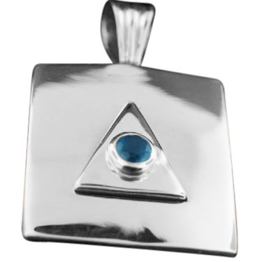 Sterling silver Blue Chalchodeny pendant ID=srp336bl