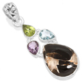 Sterling silver Agage-Peridot-Topaz-Garnet Pendant