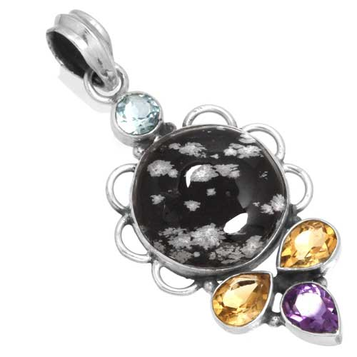 Wholesale Extended Line of Wholesale Pendants (Product ID = 16088_P_Snowflake_Obsidian_5.90)