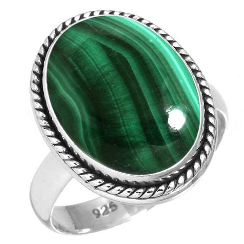 Sterling silver Malachite (10x20mm) Ring