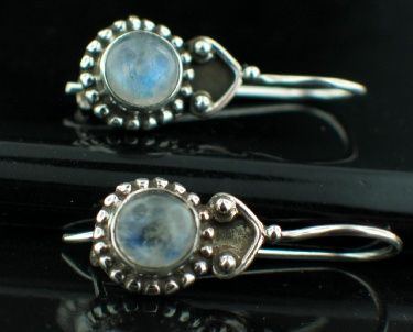 Sterling silver Rainbow Moonstone (8mm) Earring