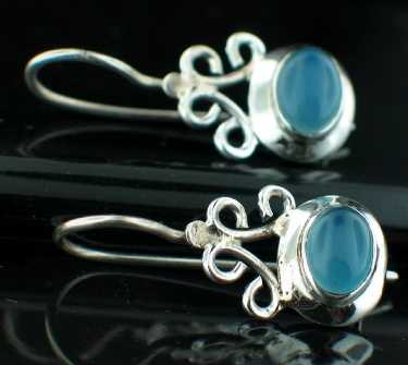 Sterling silver Blue Chalchodeny (8x11mm) Earring