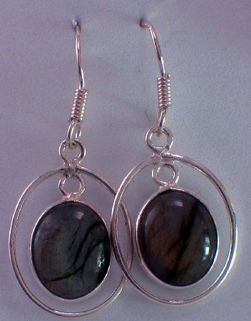 Sterling silver Rainbow Moonstone (8x10mm) Earring