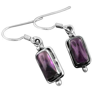 Sterling silver Amethyst (7x1mm) Earring