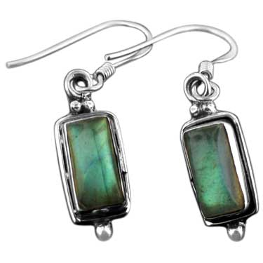 Sterling silver Labradorite (7x1mm) Earring