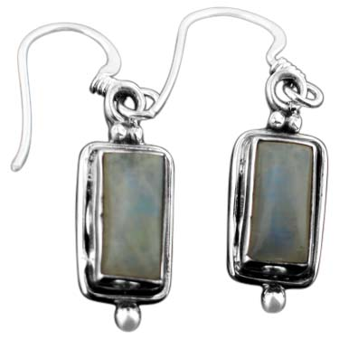 Sterling silver Rainbow Moonstone (7x1mm) Earring