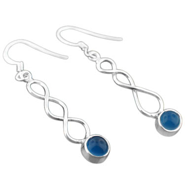 Sterling silver Blue Chalcodeny (2ctw) Earring
