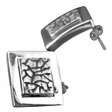 Sterling silver Etched Sterling Silver Earring