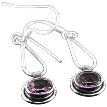 Sterling silver Amethyst (4x6mm) Earring