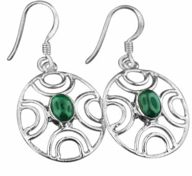 Sterling silver Malachite (4x6mm) Earring
