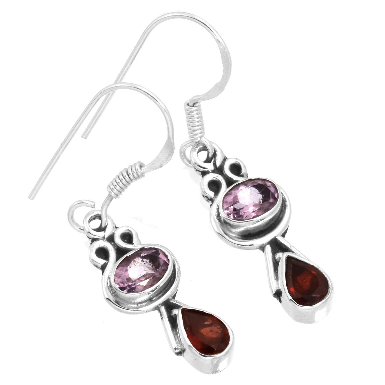 Sterling silver Amethyst (3ctw) & Garnet (2ctw) Earring
