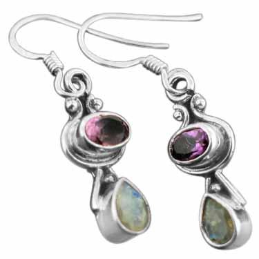 Sterling silver Amethyst (2 ctw) & Rainbow Moonstone Earring