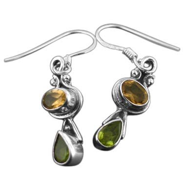 Sterling silver Citrine (2ctw) & Peridot (2 ctw) Earring
