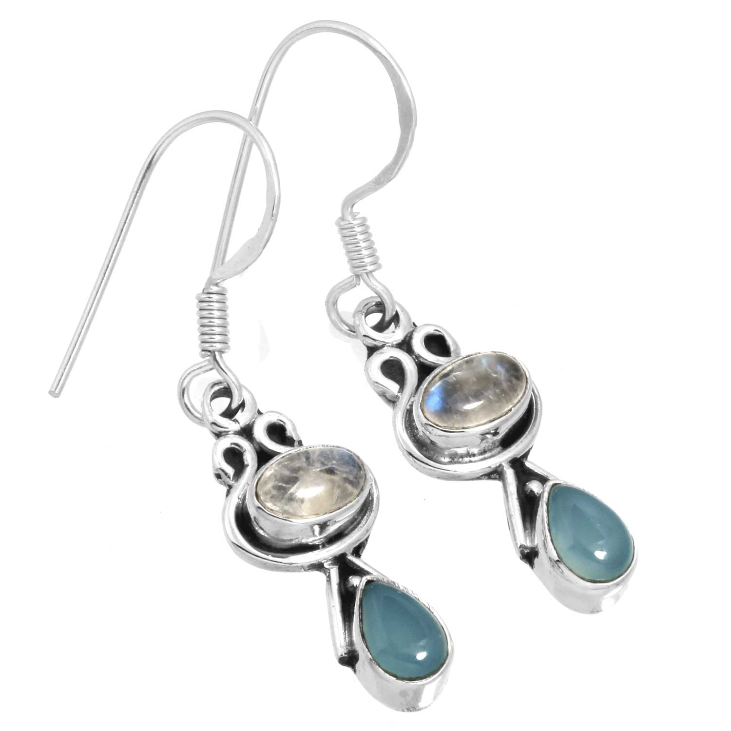 Sterling silver Rainbow Moonstone & Blue Chalcedony Earring