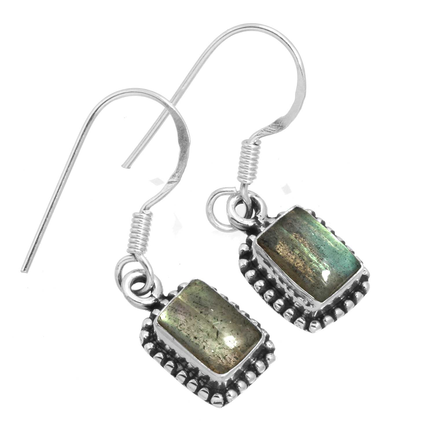 Sterling silver Labradorite (6x8mm) Earring