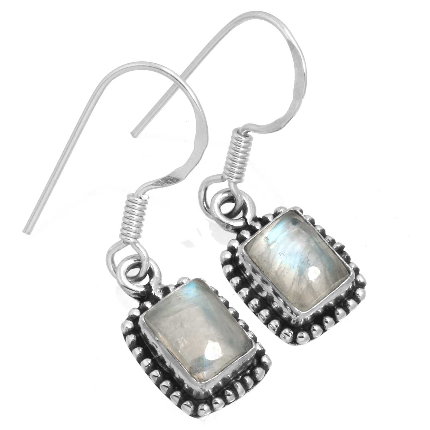 Sterling silver Rainbow Moonstone (7x10mm) Earring