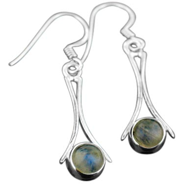 Sterling silver Rainbow Moonstone (6mm) Earring