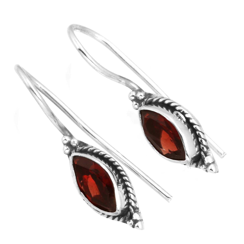 Sterling silver Garnet (3ctw) Earring