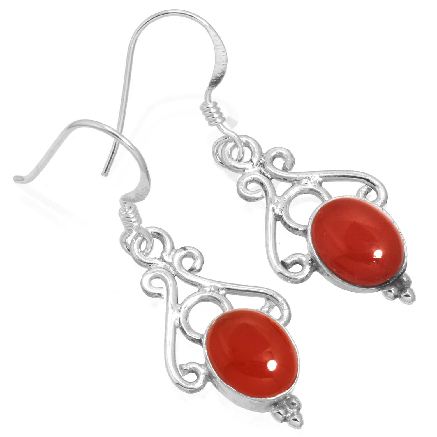 Sterling silver Carnelian (7x10mm) Earring