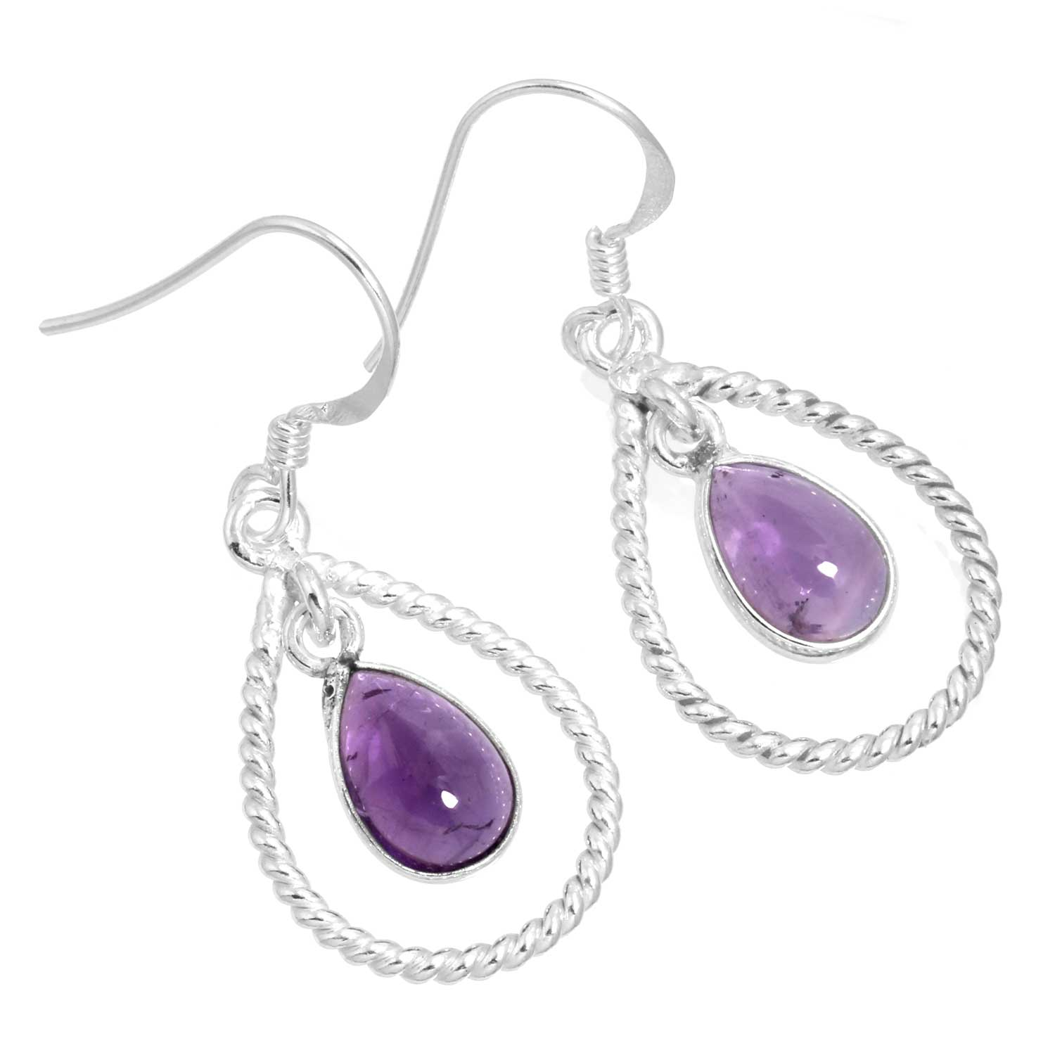 Sterling silver Amethyst (7x10mm) Earring