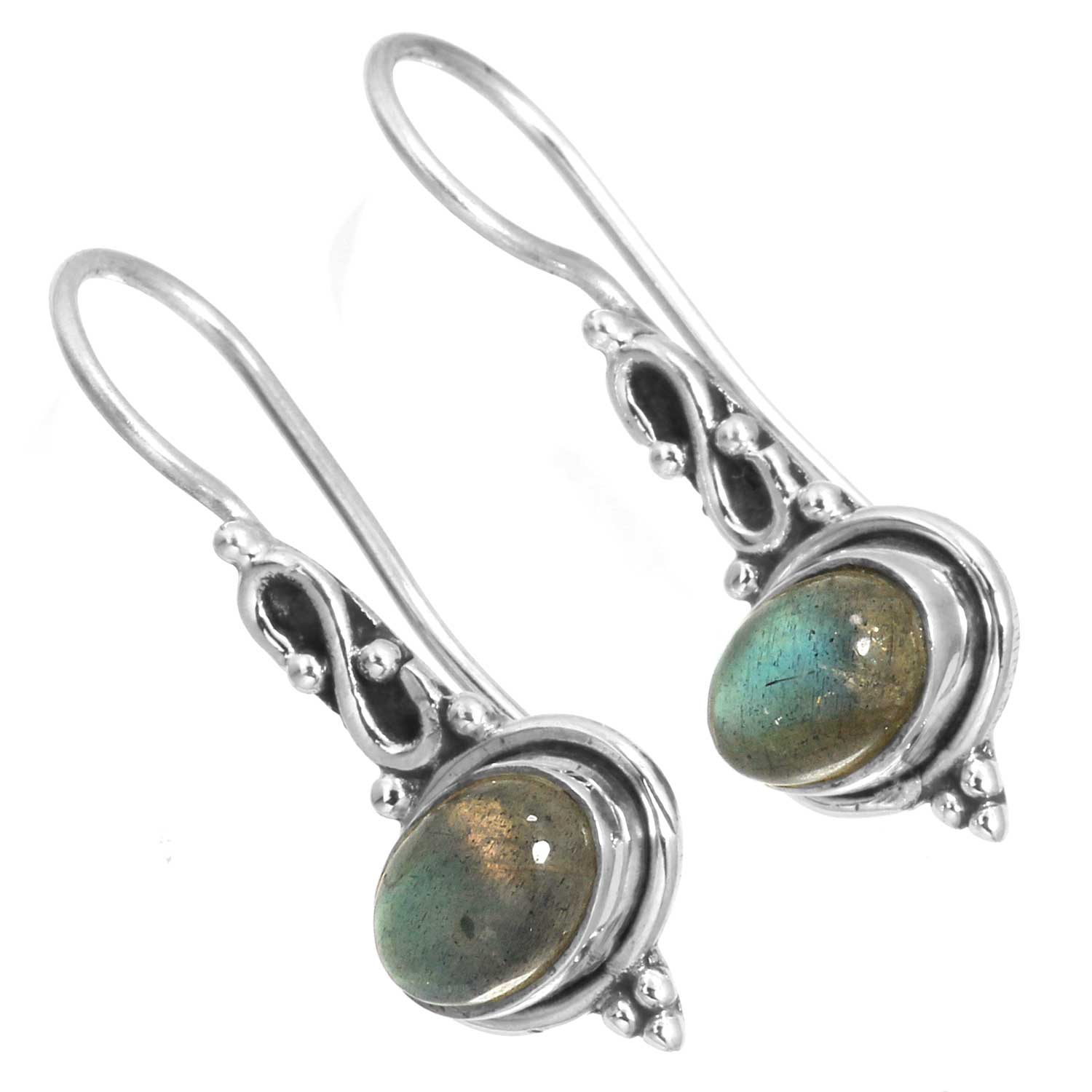 Sterling silver Labradorite (6x9mm) Earring