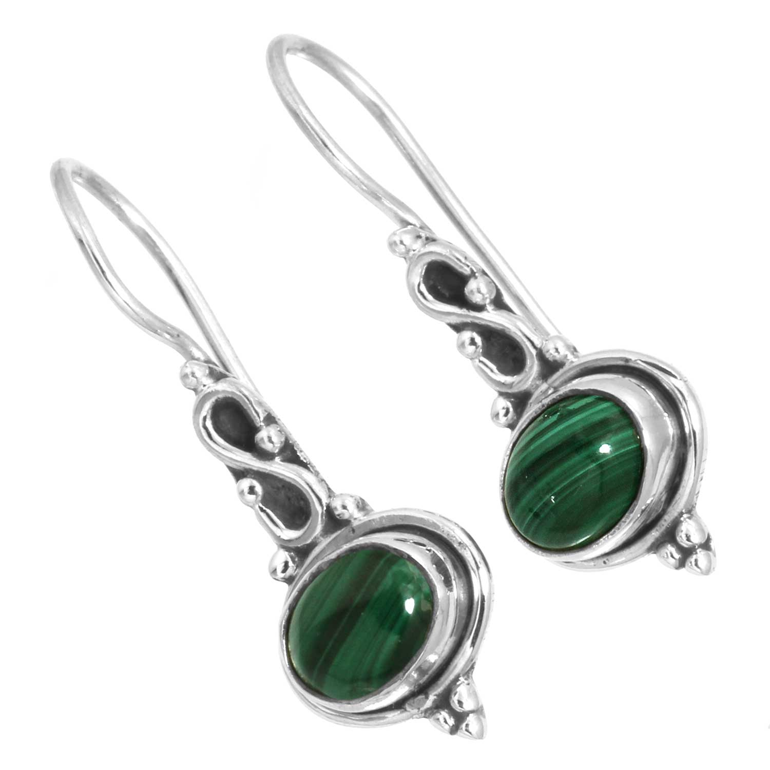 Sterling silver Malachite (6x9mm) Earring
