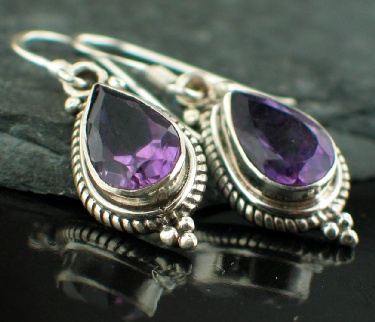 Sterling silver Amethyst (OVAL Stone - 6 ctw) Earring