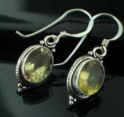 Sterling silver Lemon Quartz (6ctw - Teardrop) Earring