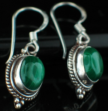 Sterling silver Malachite (7x12mm) Earring