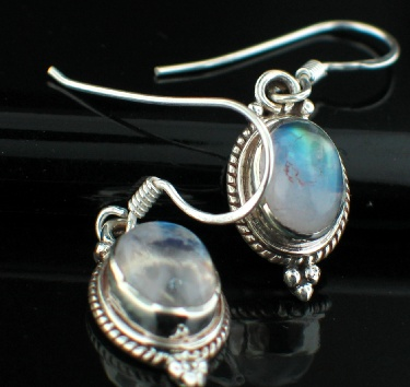 Sterling silver Rainbow Moonstone (6x9mm) Earring