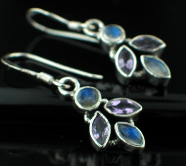 Sterling silver Amethyst (4ctw) (no moonstone) Earring