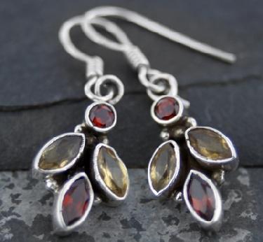 Sterling silver Citrine (2ctw) & Garnet (2ctw) Earring