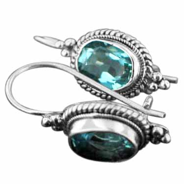 Sterling silver Blue Topaz (5ctw) Earring