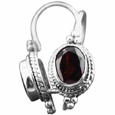 Sterling silver Garnet (5ctw) Earring