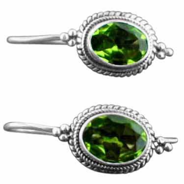Sterling silver Peridot (round - 6ctw) Earring