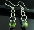 Sterling silver Peridot (round stone -4ctw) Earring