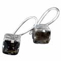 Sterling silver Smokey Quartz(7 ctw - 7mm) Earring